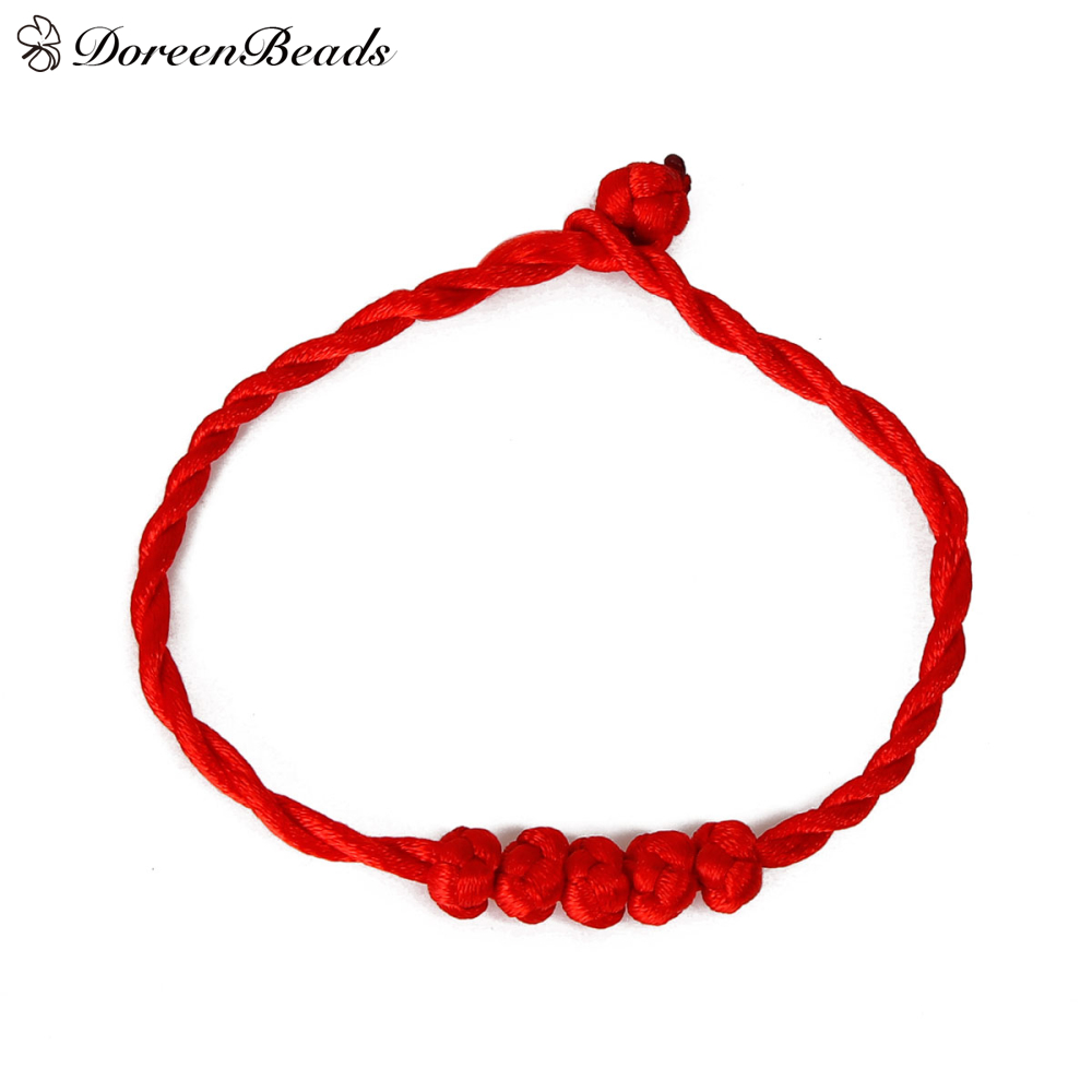 Doreenbeads Polyester Kabbalah Red String Braided Friendship Bracelets About 20 2cm 18 5cm Long 2 Pcs In Chain Link From Jewelry Accessories