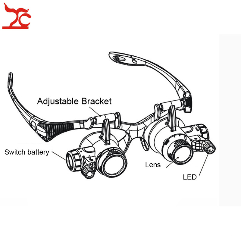 Купить с кэшбэком Professional Adjustable Repair Watch Safety Magnifier Double Eye Head Band Eyeglasses With 8 Lens LED Magnifier Eyewear