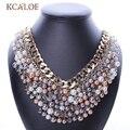 2017 NUEVA Manera de Euramerican Grandes Perlas de Imitación Collar Multi Textura Exagerada Clavícula Corta Femenina Collar de Cristal