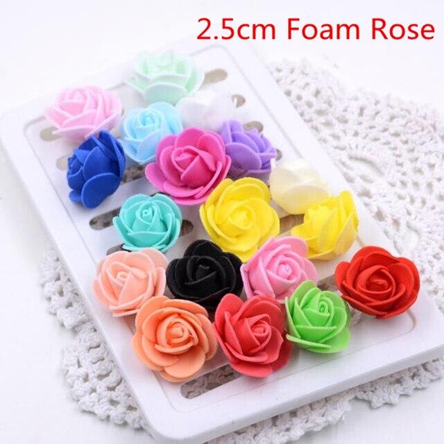 50 stks 19 Kleuren 3 cm Kleine Mini Rozen Foam Kunstbloemen Voor Bruiloft Feestelijke Decoratie Handgemaakte Pompom DIY Craft accessoires