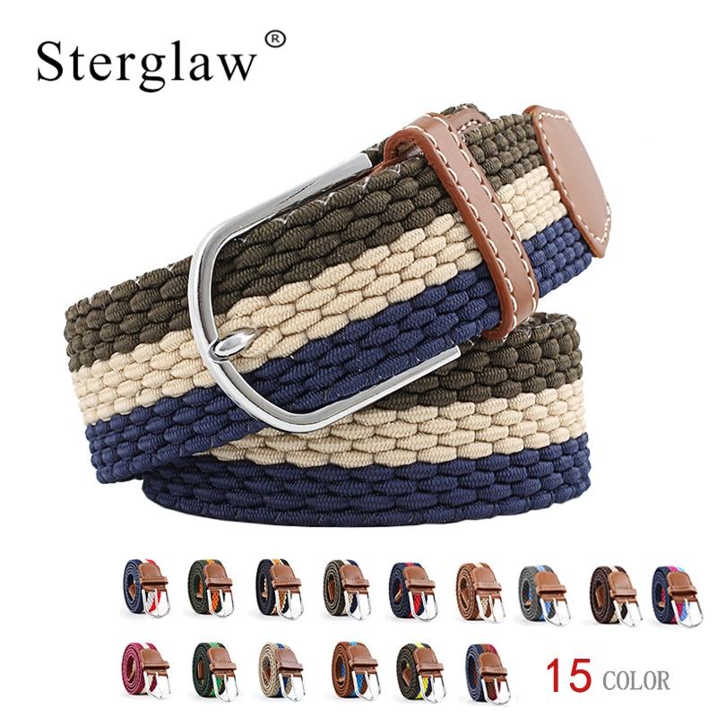 15color Casual Stripe stretch woven   belt   Women's unisex Canvas elastic   belts   for Men's youth jeans Modeling Wide waist   belt   N218