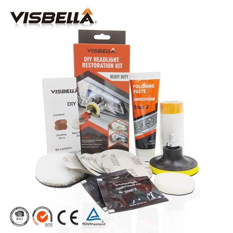 Visbella Professionelle Scheinwerfer Restaurierung Kit DIY Scheinwerfer Aufheller Auto Pflege Reparatur kit Kopf Linse Sauber Politur von maschine