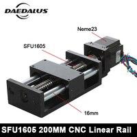 CNC резьбой линейной направляющей Nema23 двигателя 200 мм ШВП шариковинтовой модуль для 3d принтер Запчасти Роботизированная рука комплект