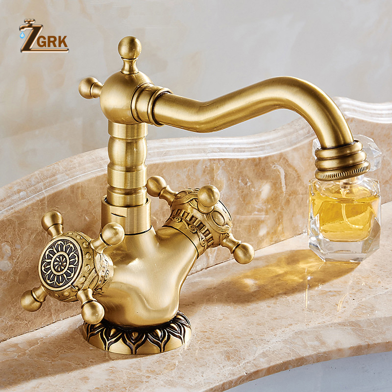 ZGRK Basin Faucets Antique Brass Bathroom Faucet Basin Carving Tap Rotate Double Handle Hot and Cold