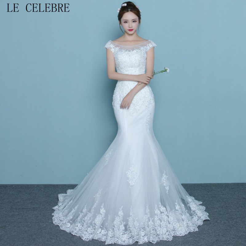 LE CELEBRE Short Sleeves Lace Tulle Mermaid Wedding Dress