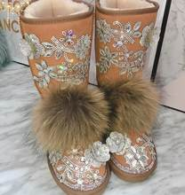Winter new high-grade leather thick cotton boots Heavy-duty rhinestone three-dimensional flowers anti-skiing boots real hair(China)