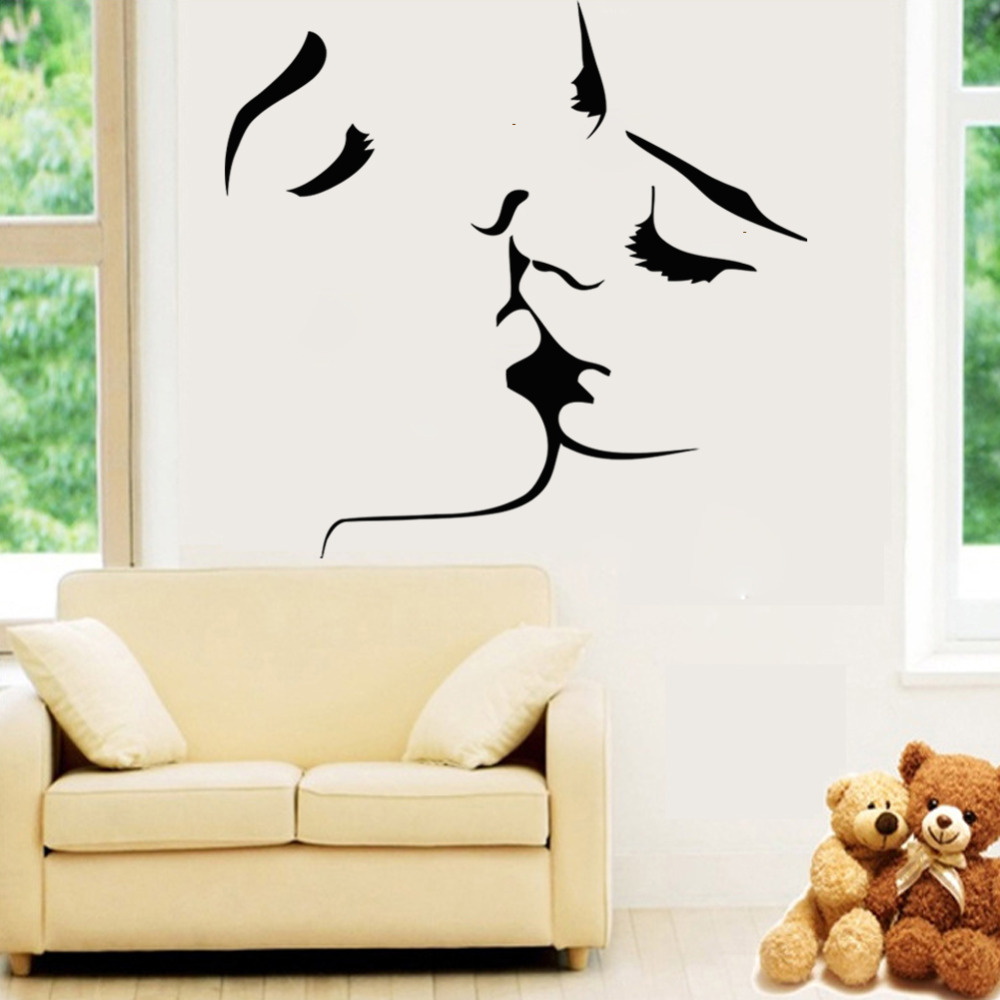 Fashion happy life black lover kiss home decal wall for Stickers de pared