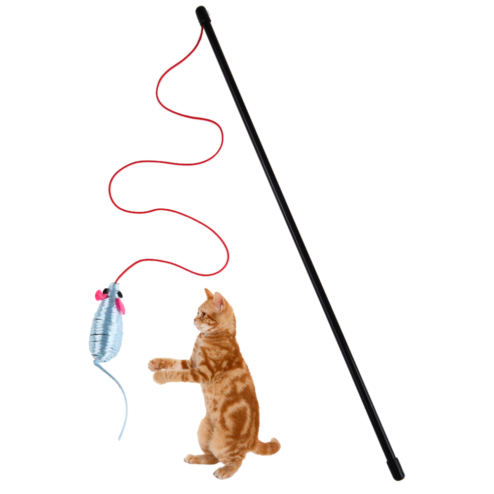 1pc Pet Cat Teaser Kitten Wire Play Toy Fun False Mouse Rat Rod Cats Stick Funny Pet Cat Toys Kitten Playing Toys