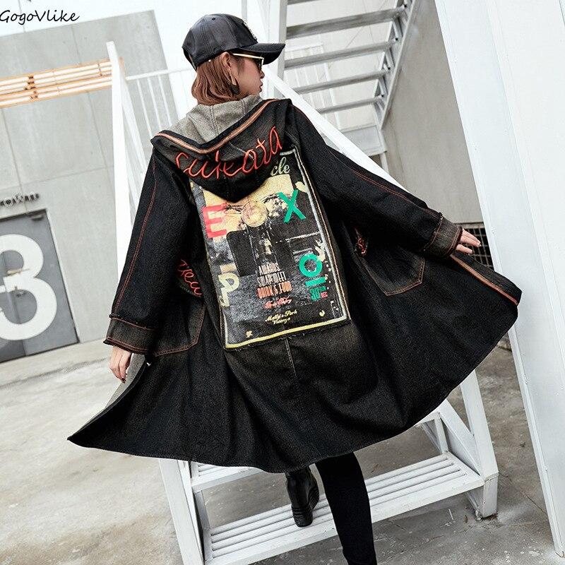Spring Cartoon Patch   Trench   Coat Hooded 2019 New Women Black Long Casual Jean Windbreaker Denim Coat Plus size LT844S50