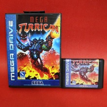 Mega Turrican 16 bit MD card with Retail box for Sega MegaDrive Video Game console system