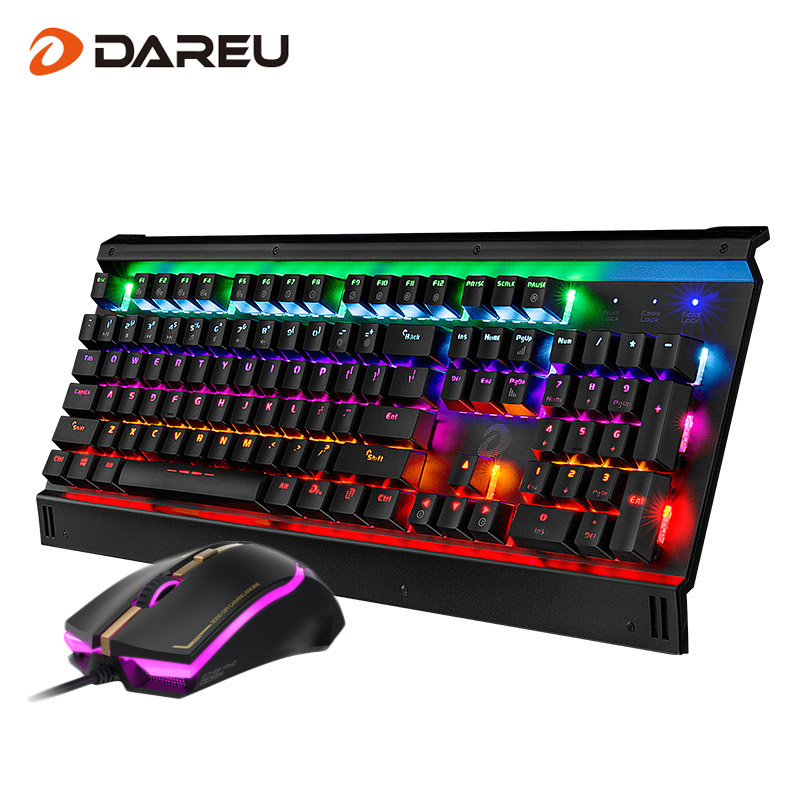 Dareu EK812T LED Backlight Gaming Mechanical Keyboard Mouse Combos USB Wired Full Key Professional Mouse Keyboard For Game PC dare u wcg armor soldier 6400dpi 7 programmable buttons metab usb wired mechanical gaming mouse