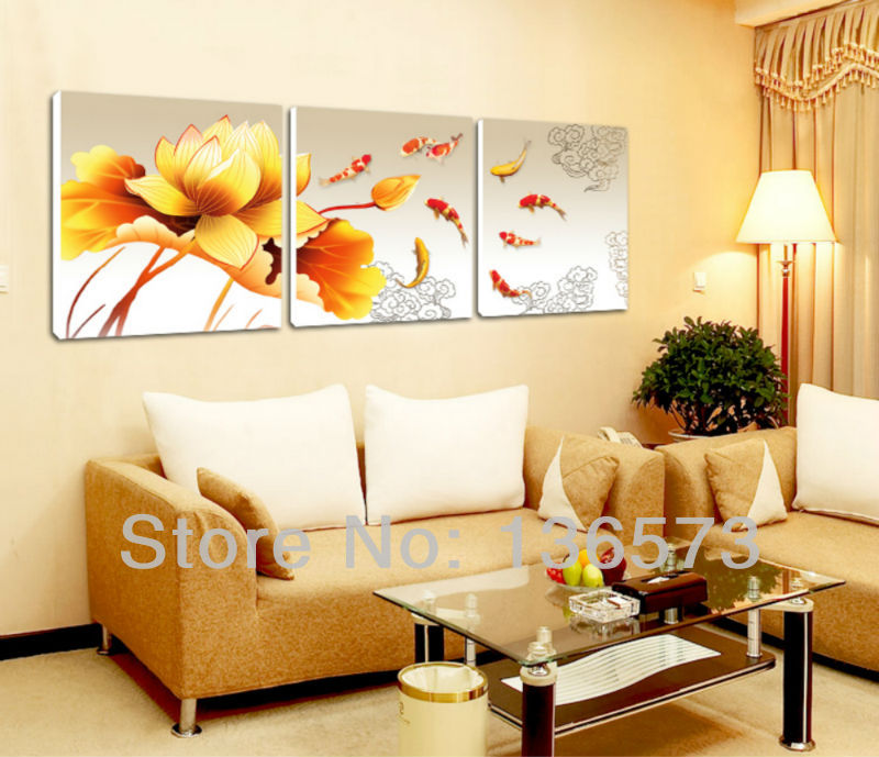 Handmade Koi Fish Canvas Art 3 Piece Paintings Yellow Flower ...