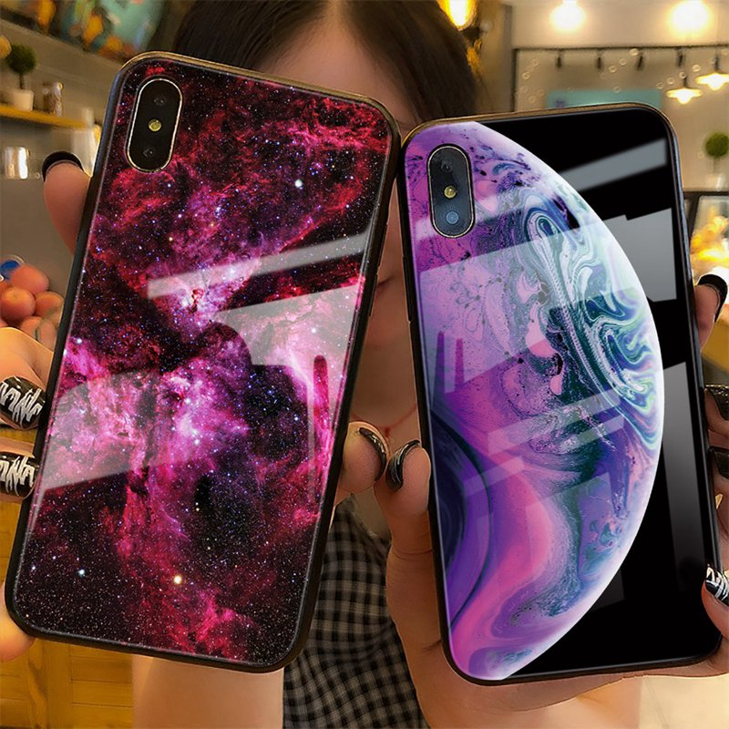 TOMKAS Luxury Space Cover Case for iPhone X Xs Max Xr Xs Glass Silicone Phone Case for iPhone 7 8 Plus Cases for iPhone 6 S 6s (19)