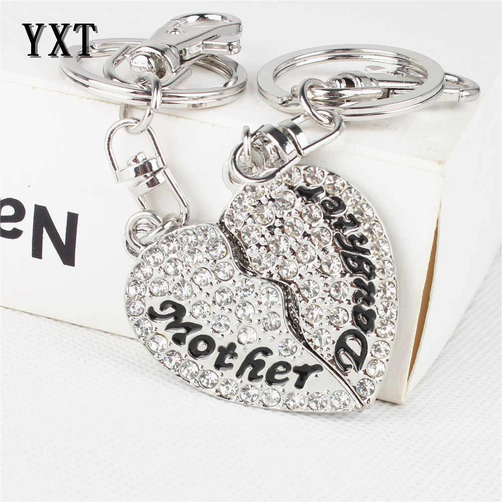 2 piezas madre e hija amor corazón cristal plata encanto colgante bolso coche llavero cadena moda creativa madre regalo del día de