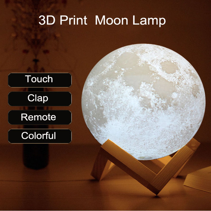 3D Print Moon Lamp Touch Clap Remote Night Light Multicolor Change Home Bedroom Study Atmosphere Decor Family Friend Gifts