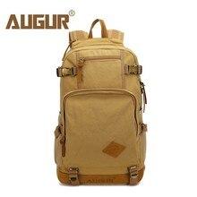Купить с кэшбэком AUGUR Men Backpacks Vintage Canvas Leather Men's Backpack Larger Capacity Travel Bags For Men Male Schoolbag 14 inch Laptop Bag