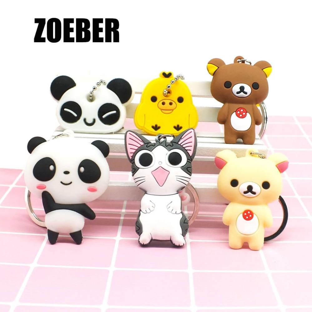 Zoeber модные 3D панда сыр брелок аниме мультфильм брелки кошка мешок кулон Ключи держатель Kawaii подарок, оптовая продажа