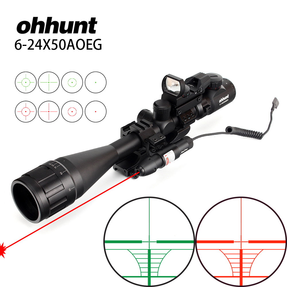 ohhunt 6-24x50 AOEG Hunting Rangefinder Reticle Rifle Scope with Holographic 4 Reticle Sight Red Green Laser Combo Riflescope 6 24x50 aoeg riflescope hunting optics scope adjustable light reticle tactical scope with 20 11mm rails hunting sightfinder h5
