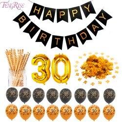 FENGRISE 30 40 50 60 70 Glücklich Geburtstag Party Dekorationen Erwachsene Angepasst Geburtstag Partei Liefert Gold Schwarz Jahrestag Decor
