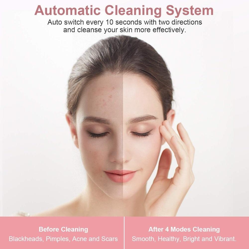 Очищающая силиконовая щетка для лица, электрическая щетка для лица, удаление черных точек и Отшелушивание, Индукционная система сушки, водонепроницаемая - 2
