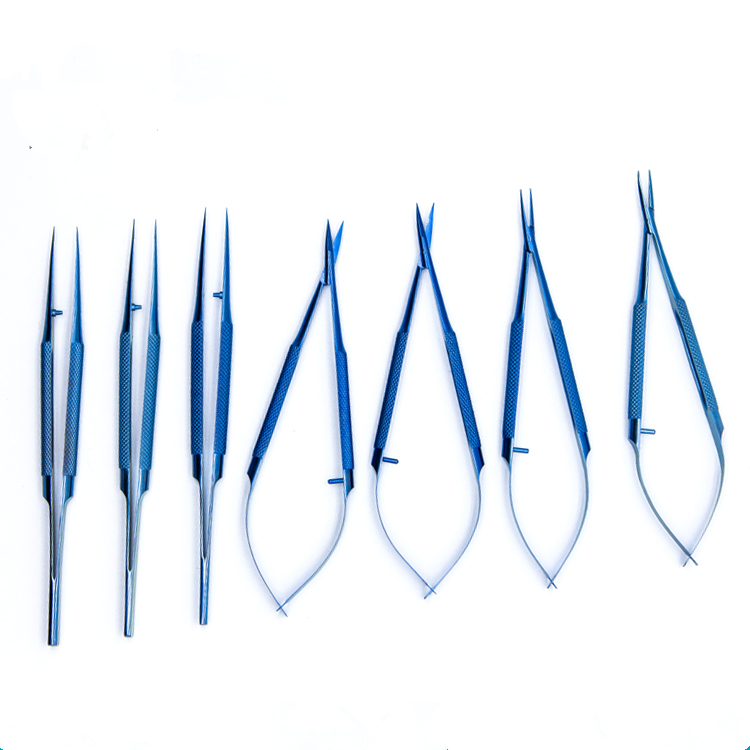 7pcs/set 14cm Titanium alloy ophthalmic microsurgical instruments Needle Holder Micro scissors Tweezers hand surgery instruments spatula tarsus gland curettage double head stainless steel scraping teeth titanium alloy surgery tools