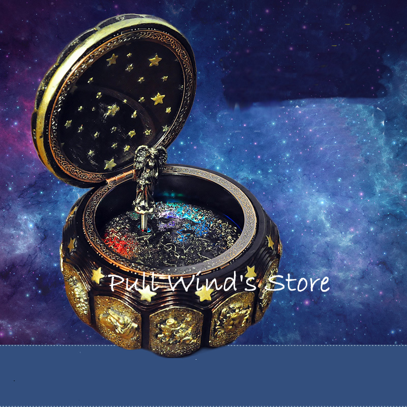 Fantasy Constellation With Light Music Box Fantasy Star Resin Rotation Music Box Beautiful