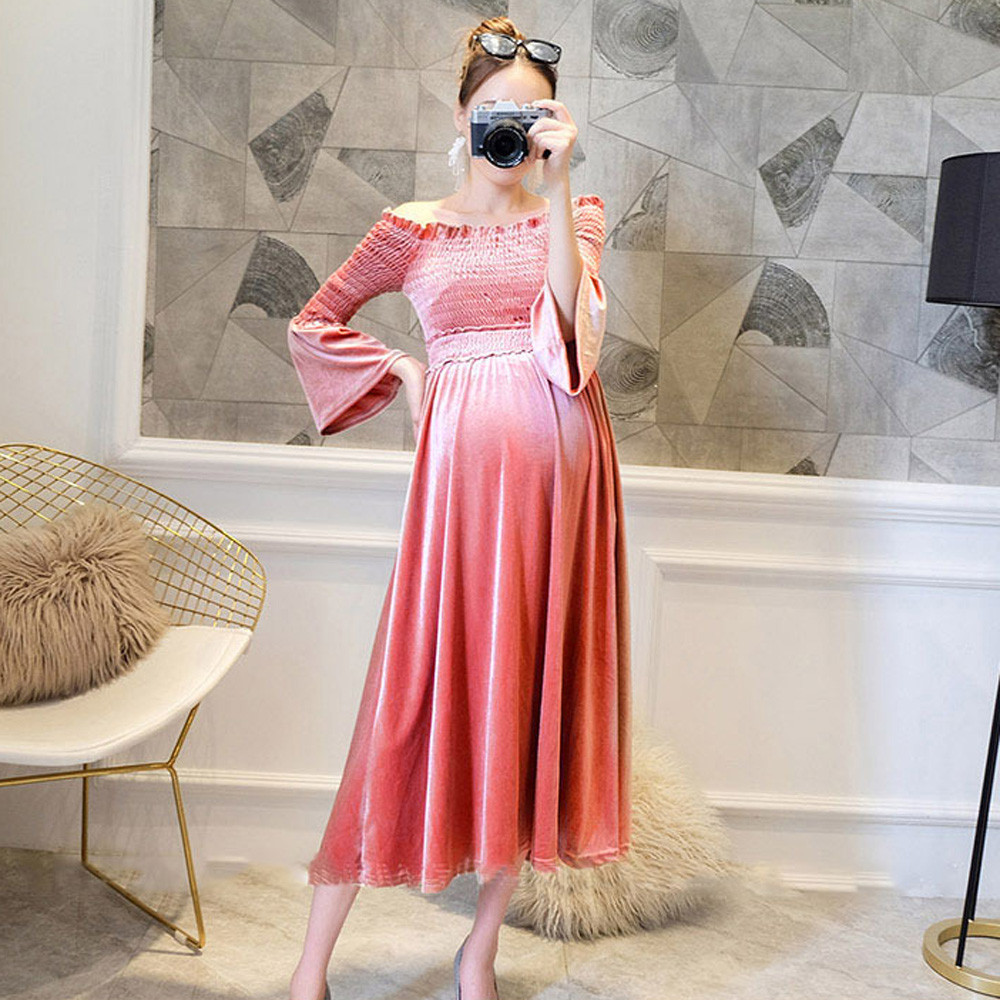 Women Pregnants Sexy Baby For Maternity Off Shoulder Velvet Nursing Long Dress