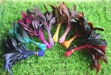 200pcs/lot 10-20cm Stripped Rooster Tail Coque Feathers 10 colours available FREESHIPPING