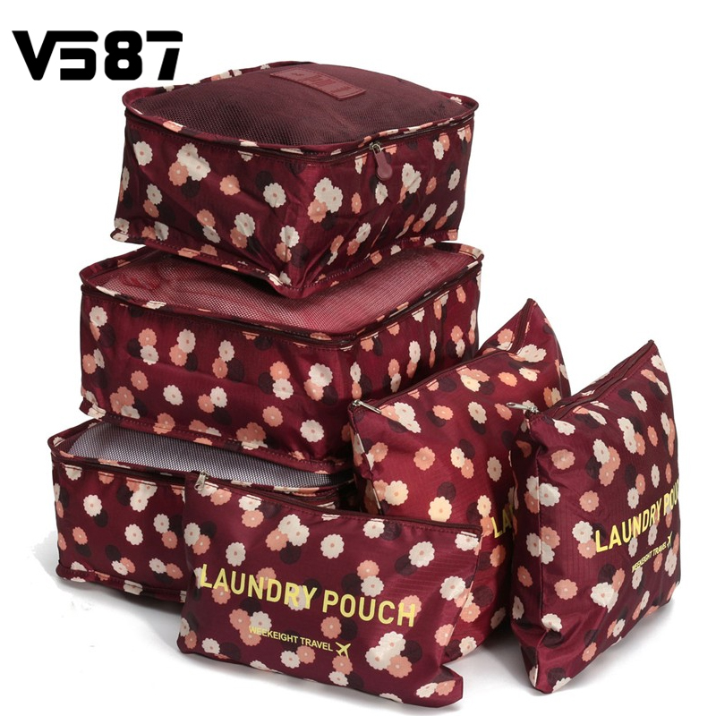 Portable Tote Travel Luggage Pouch Storage Bag Case Packing Women Men Clothes Shoes Tidy Waterproof Organizer 6 Pcs/Set