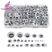 Lucia crafts 1 коробка (approx.1120pcs) 4-25 мм смешанные формы пластиковые самоклеющиеся Googly бегающие глазки куклы DIY игрушки ремесла 1001001120