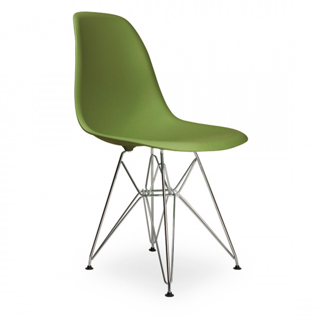 6 pieces for a  lot PP Plastic Casual Side Dining Chairs Steel Legs Color Green