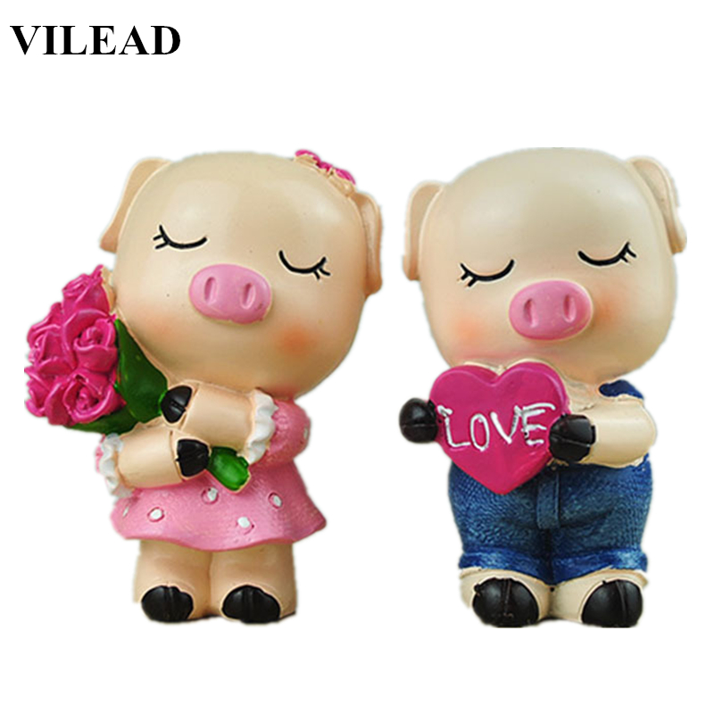 crafts:  Handicraft arts and crafts Toy 3.1'' Resin Lovely Pig Figurine Creative Lover Miniatures Statue for Home Wedding home Decor pig - Martin's & Co