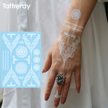 Trendy Fake Tattoos Henna White Flash Tattoo Temporary Stickers Waterproof Arabic Indian Wedding Lace Hand Style S1006