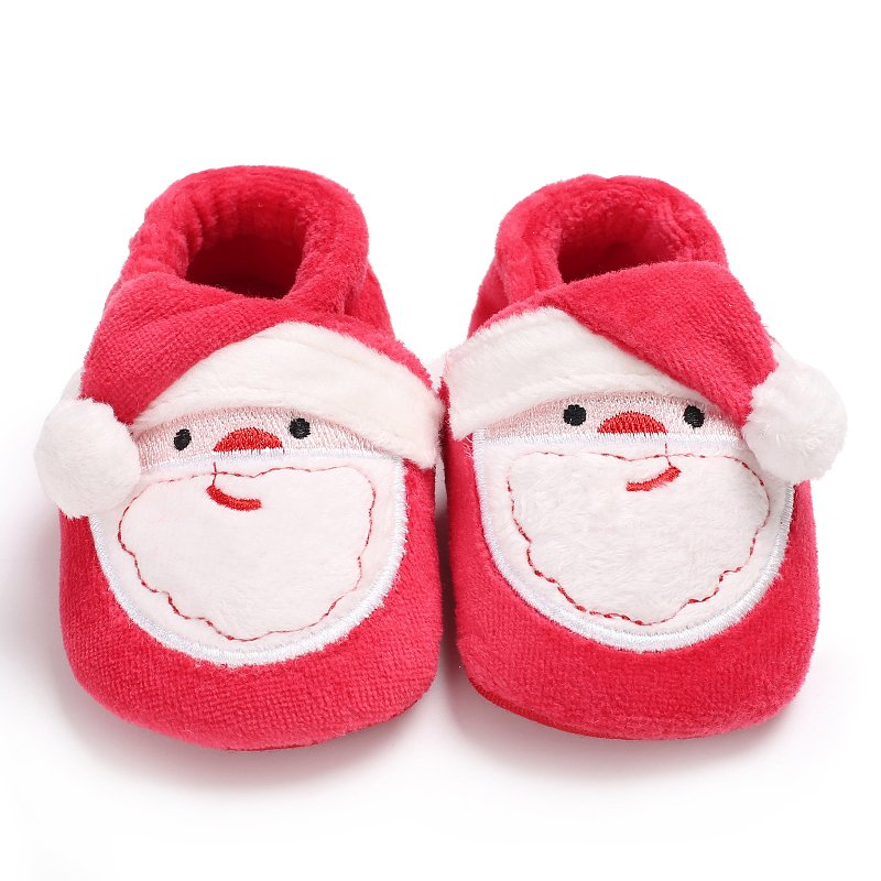 Winter Christmas Party Toddler Infant Newborn Christmas Santa Claus Soft Sole  First Walkers Prewalkers Girl Boy Baby Shoes