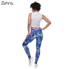 Women Tropical Leaves Printing Blue Fitness Legging