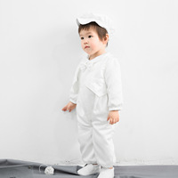 2019 Newborn Lovely Infant White Baby Boy Clothing Set Romper with Hat Thanksgiving Baby Outfits Baby Clothes Toddler RBS195002