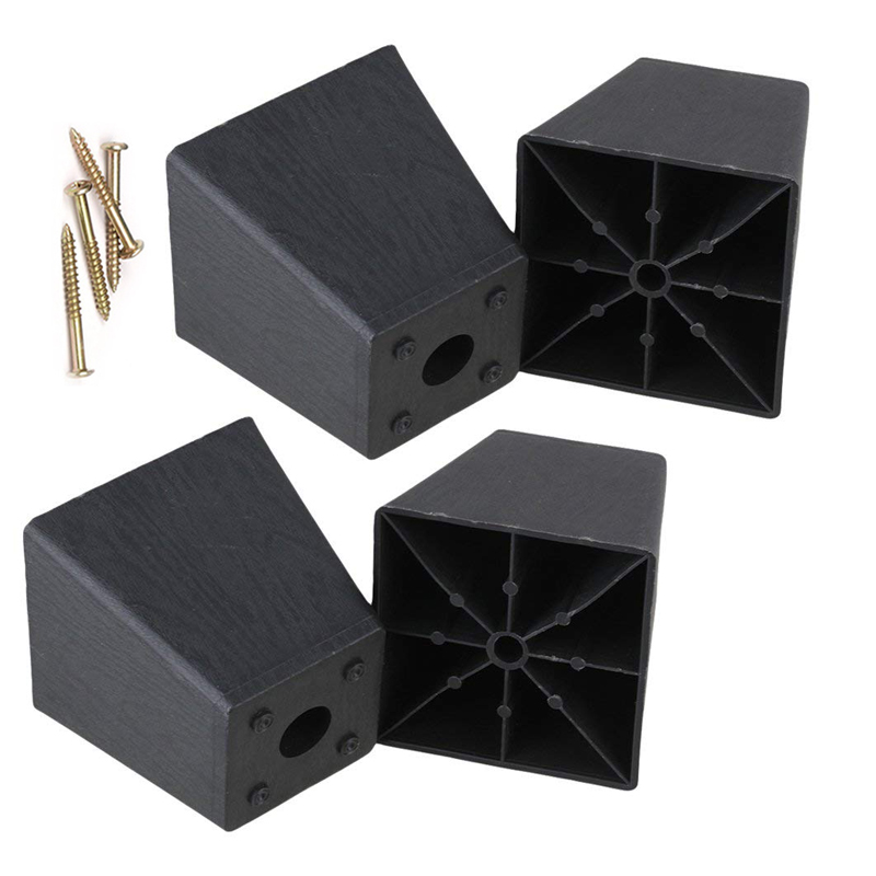 4 Screws+4Pcs 97 X 98 X 65mm Trapezoid Black Plastic Furniture Legs Feet For Sofa Couch And Chair