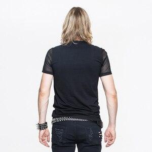 Image 3 - 悪魔ファッション新着パンクセクシーな中空アウト男 Tシャツゴシック黒半袖 O ネック Tシャツトップス 2020 春夏