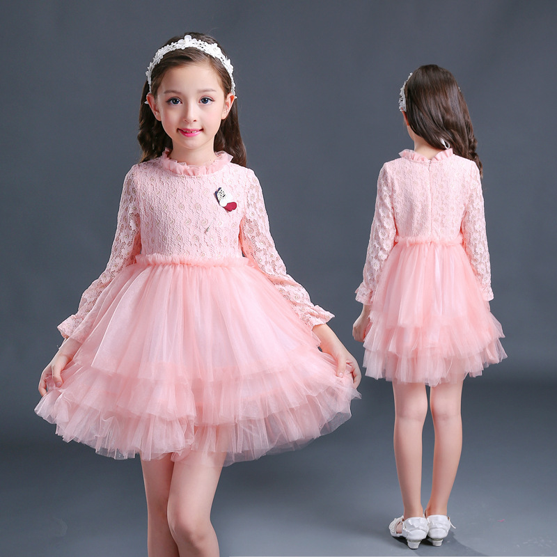 Children girls Autumn and winter 2017 new Lolita fashion girls pink long sleeved lace flower dress princess dress layered dress юбка other flower lolita b113