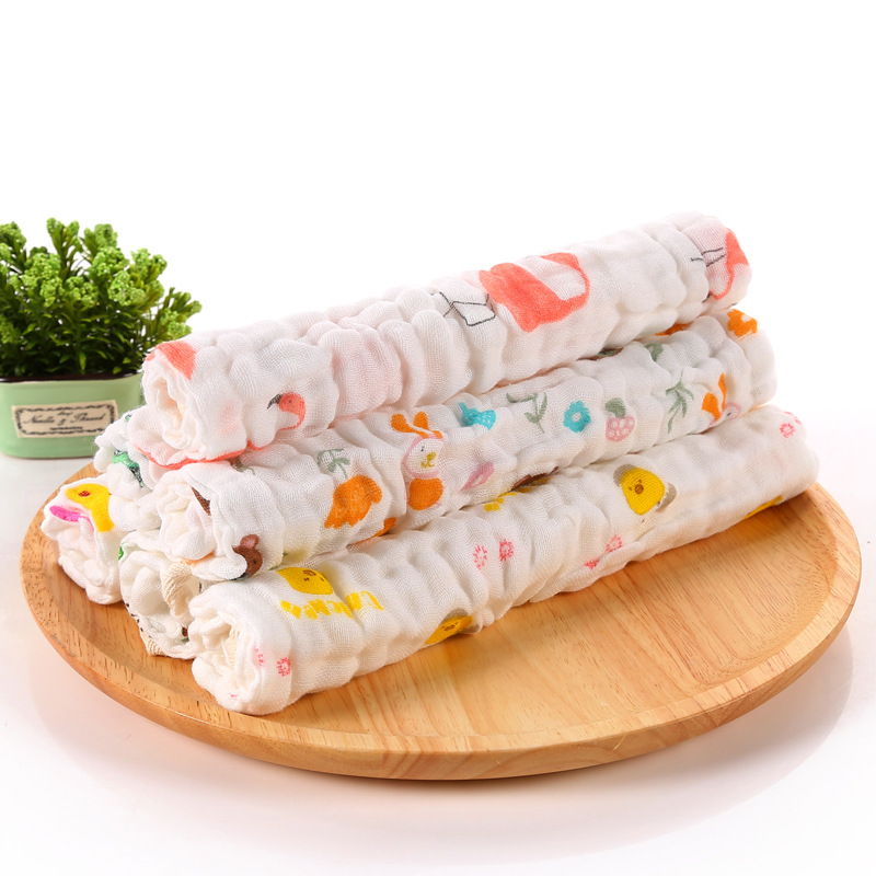 Купить с кэшбэком Herbabe 5pcs Newborn Baby Bath Towel 100% Cotton 6 Layer Solid Absorbent Hand Face Towels Infant Kids Burp Cloth Wipes Washcloth