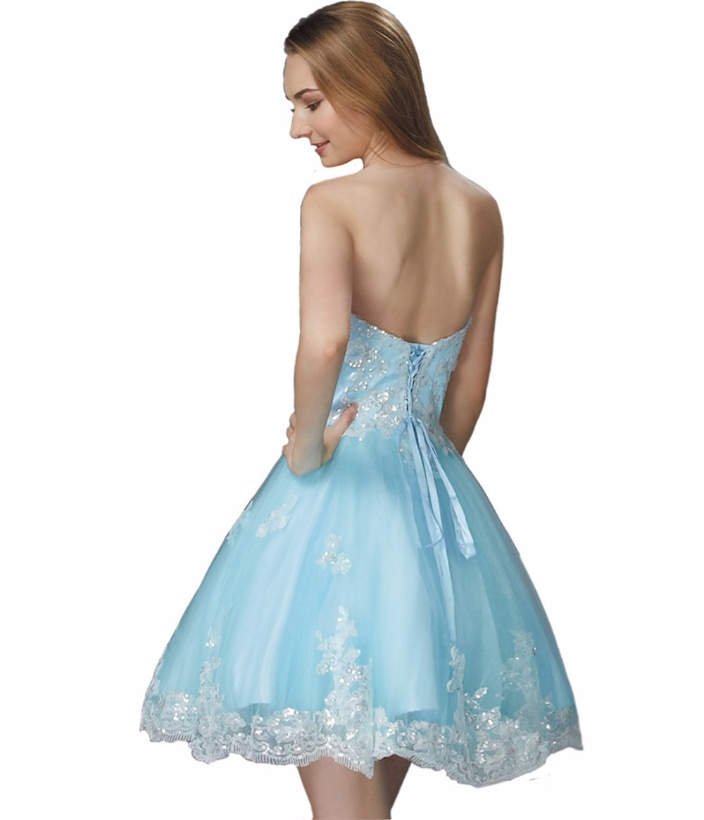 Cute Pink Blue Juniors Short Prom Dresses Knee Length Sweetheart ...