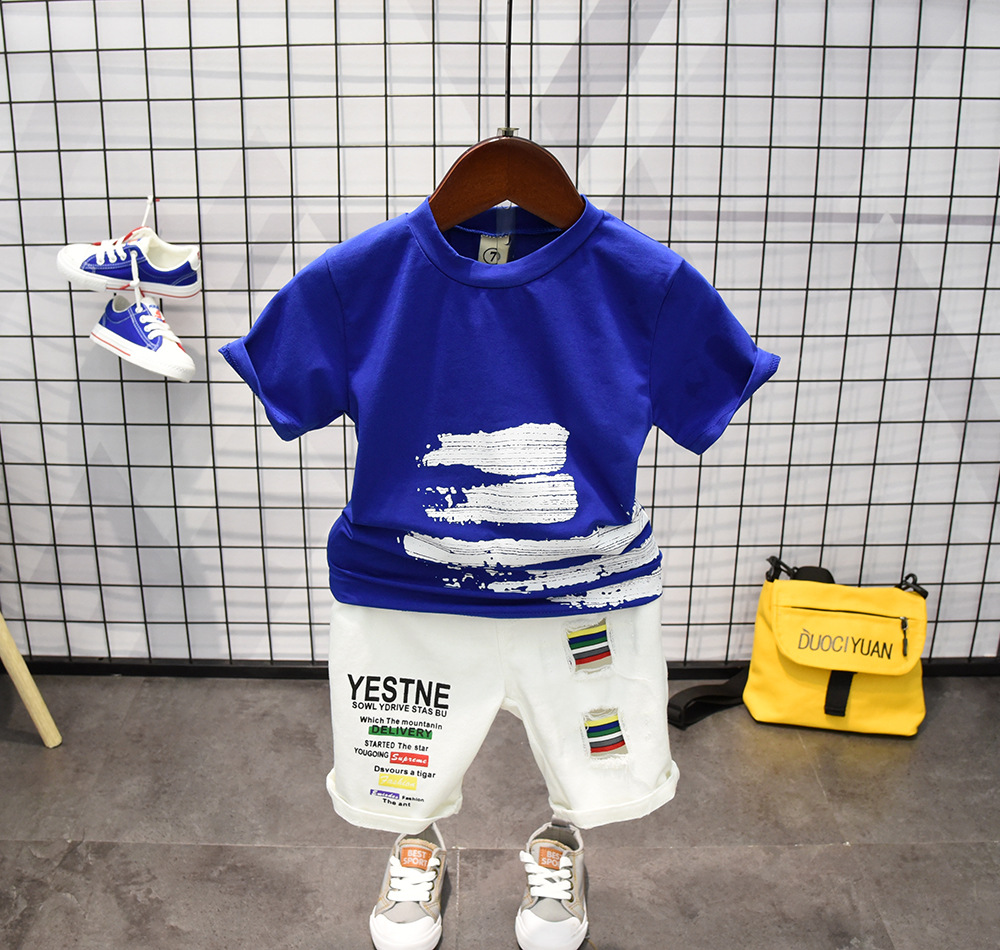 2 3 4 5 6 Years Summer Toddler Boys Clothes 2pcs Set Blue T Shirt+ Hole Denim Pants Ripped Jeans Outfit Kids Baby Boy Clothing