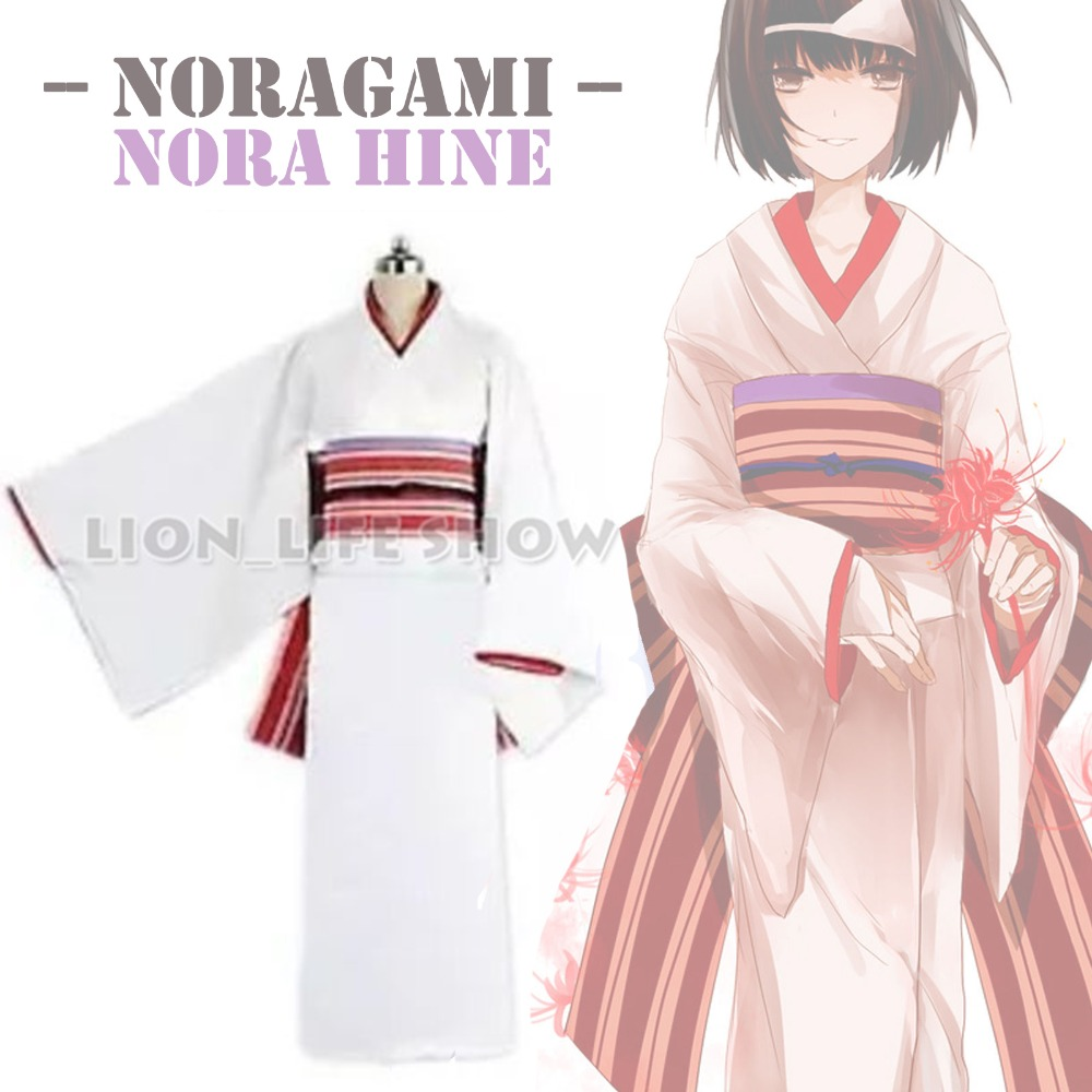 Anime Noragami Nora Hine Kimono Yukata Cosplay Costume With Headwear Hand Band