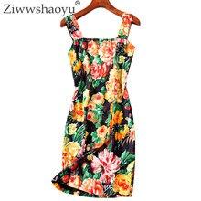 380fea7a6cf9fd5 Ziwwshaoyu элегантный печати мини-платья Спагетти ремень без бретелек Сексуальная  спинки вечерние платье весной и летом взлетно-.