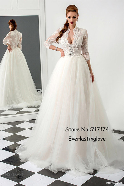 Beautiful Stand Collar Deep V neck Wedding Dress with 3/4 Sleeves ...