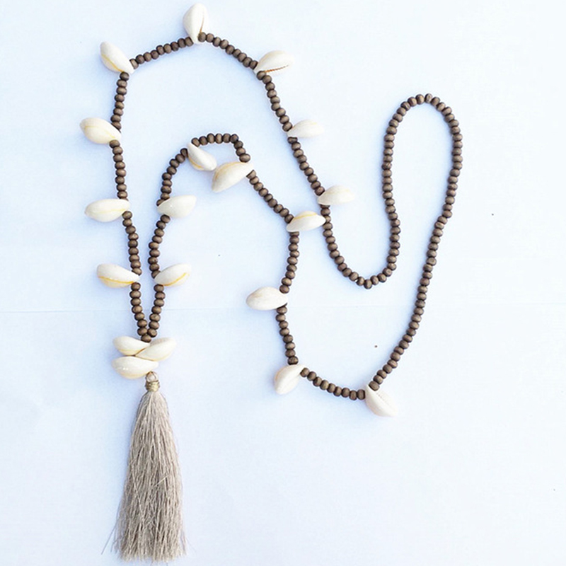 Dongmu jewellery bohemian style beach shell fashion necklace wooden pearl tassel woman hand long chain necklace birthday gift
