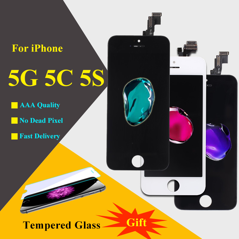 AAA Quality Screen For iPhone 5 5S 5C LCD Screen Display and Digitizer Replacement Touch Screen For iPhone 5S LCD Black White free shipping aaa quality for iphone 5 5s 5c lcd display touch screen digitizer frame assembly white black with opening tools
