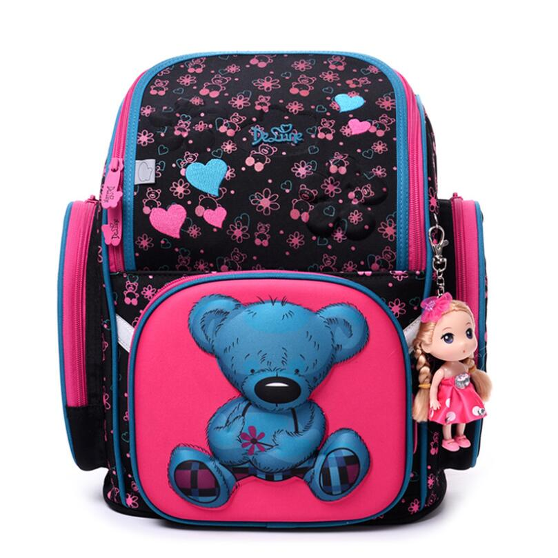 где купить 2018 Delune Brand High Quality Kids School Bags for Girls 3D Bear Print Cartoon SchoolBag Children 3D Orthopedic School Backpack дешево