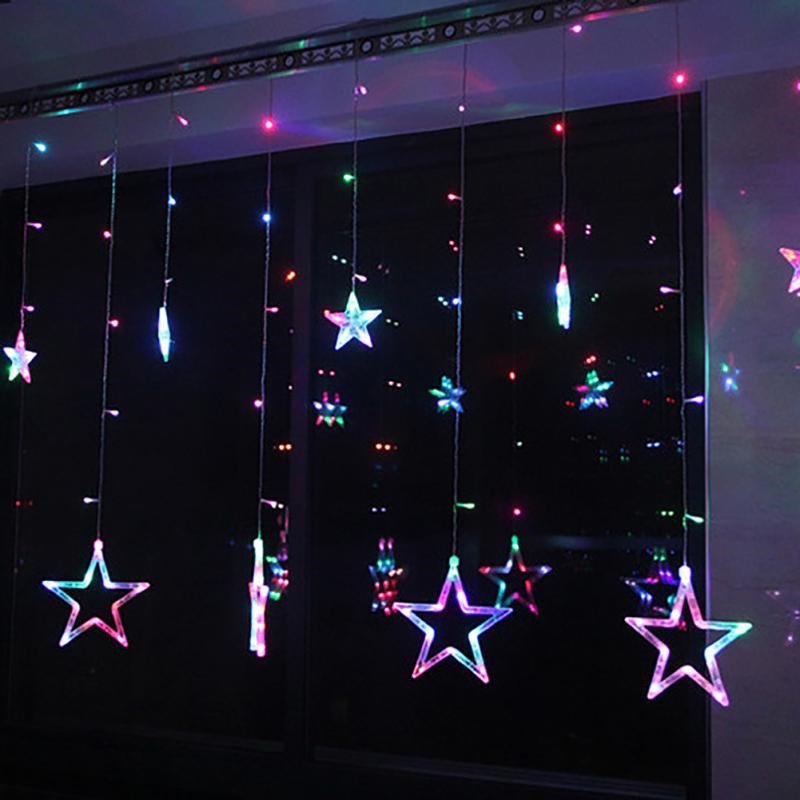 SICCSAEE AC110V Or 220V Holiday Lighting LED Fairy Star Curtain String Luminarias Garland Decoration Christmas Wedding Light 2M