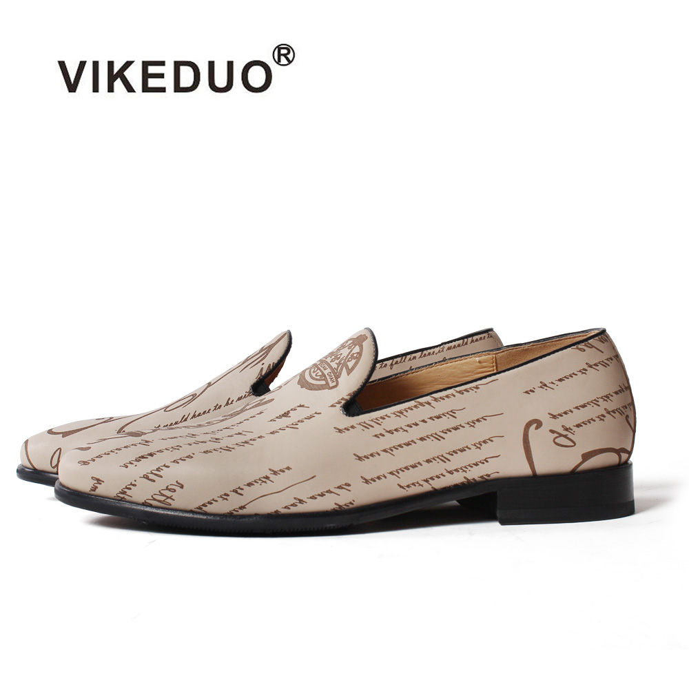 VIKEDUO 2019 Hot Loafers Shoes For Men Letter Laser Slip On Footwear Handmade Genuine Cow Leather
